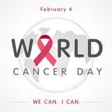 Bandeira da rotulação do globo do dia do câncer do mundo, nós podemos mim podemos Imagem de Stock Royalty Free