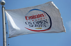 Bandeira da série do US Open da linha aérea dos emirados em Billie Jean King National Tennis Center durante o US Open 2013 Imagem de Stock Royalty Free