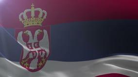 Bandeira da Sérvia que acena no mastro de bandeira no vento, símbolo nacional da liberdade ilustração do vetor