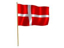 Bandeira da seda de Dinamarca Imagens de Stock Royalty Free