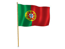 Bandeira da seda de Portugal Fotografia de Stock Royalty Free