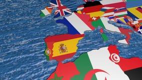 Bandeira da Suécia no mapa 3d video estoque