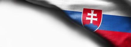 Bandeira da tela de Eslováquia no fundo branco fotografia de stock royalty free