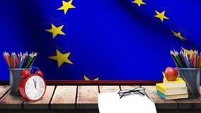 Bandeira da UE com fontes de escola filme