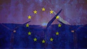 Bandeira da UE com moinhos de vento filme