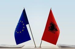 Bandeira da União Europeia e da Albânia foto de stock