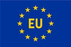 Bandeira da União Europeia, UE Doze estrelas do ouro no fundo azul com etiqueta da UE no meio Ilustração do vetor ilustração royalty free
