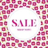 Bandeira da venda com flores cor-de-rosa Imagens de Stock