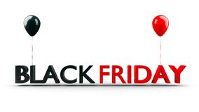 Bandeira da venda de Black Friday com os balões brilhantes isolados no fundo branco, 3D-Illustration ilustração stock