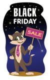Bandeira da venda de Black Friday com um gato e um sinal imagens de stock royalty free