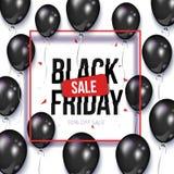 Bandeira da venda de Black Friday, inseto com balões ilustração do vetor