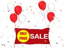 Bandeira da venda de meio preço Fotografia de Stock