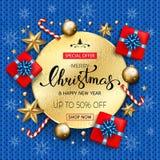 Bandeira da venda do Feliz Natal com as estrelas e bub dourados das caixas de presente Imagens de Stock Royalty Free