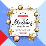 Bandeira da venda do Feliz Natal com estrelas e bolhas douradas Vect Imagens de Stock Royalty Free