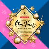 Bandeira da venda do Feliz Natal com estrelas e bolhas douradas Vect Fotografia de Stock