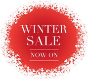 Bandeira da venda do inverno com flocos de neve fotos de stock royalty free