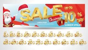 Bandeira da venda do Natal com etiqueta do desconto 10,20,30,40,50,60,70,80,90,99 por cento ilustração royalty free