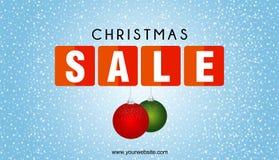 Bandeira da venda do Natal com fundo da neve Imagem de Stock