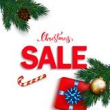 Bandeira da venda do Natal com os presentes da caixa com curva, bastão de doces, bubbl Imagens de Stock