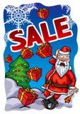 Bandeira da venda do Natal com Santa Claus ilustração royalty free