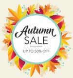 Bandeira da venda do outono com folhas coloridas fotos de stock royalty free