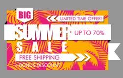 Bandeira da venda do verão com folhas de palmeira exóticas tropicais e fundo alaranjado e cor-de-rosa da planta Texto brilhante d ilustração royalty free