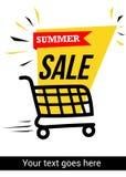 Bandeira da venda do verão com trole da compra Foto de Stock