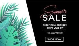 A bandeira da venda do verão no estilo na moda com as folhas tropicais para a promoção do cosmético, forma, accessorize etc. Eleg ilustração do vetor