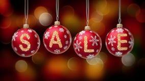 Bandeira da venda em bolas vermelhas do Natal com o floco redondo da neve no fundo do bokeh do ouro 4K ilustração stock