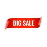 Bandeira da venda Fita vermelha realística do papel lustroso Imagens de Stock