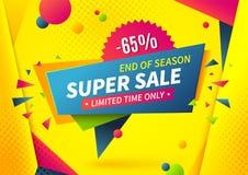 Bandeira da venda Logotipo da oferta especial, molde do projeto da etiqueta da promoção do fim de semana, etiqueta super da venda ilustração stock