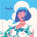 Bandeira da venda da mola, cartaz da venda, inseto da venda 50 fora, ilustração do vetor Imagem de Stock Royalty Free