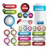 Bandeira da venda ou do disconto da Web para a Web com botões Fotografia de Stock