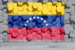 A bandeira da Venezuela no hexágono deu forma à parede dos blocos de cimento Front View ilustra??o 3D imagens de stock