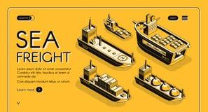 Bandeira da Web do vetor da empresa do transporte de frete do mar ilustração royalty free