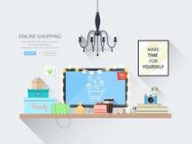 Bandeira da Web dos conceitos para Web site da compra em linha Foto de Stock