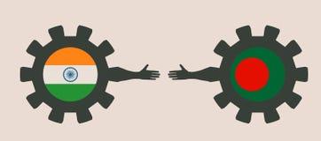 Bandeira da Web, molde da disposição do encabeçamento Relacionamento político e econômico entre a Índia e o Bangladesh Imagem de Stock