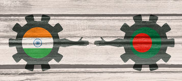 Bandeira da Web, molde da disposição do encabeçamento Relacionamento político e econômico entre a Índia e o Bangladesh Fotografia de Stock Royalty Free