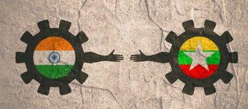 Bandeira da Web, molde da disposição do encabeçamento Relacionamento político e econômico entre a Índia e o Myanmar Foto de Stock