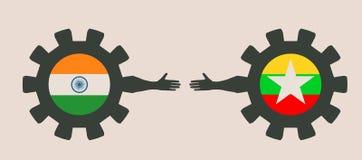 Bandeira da Web, molde da disposição do encabeçamento Relacionamento político e econômico entre a Índia e o Myanmar Foto de Stock Royalty Free