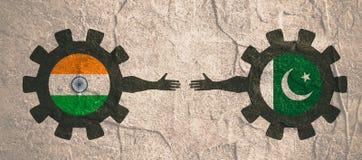Bandeira da Web, molde da disposição do encabeçamento Relacionamento político e econômico entre a Índia e o Paquistão Fotografia de Stock Royalty Free