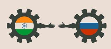 Bandeira da Web, molde da disposição do encabeçamento Relacionamento político e econômico entre a Índia e a Rússia Imagens de Stock