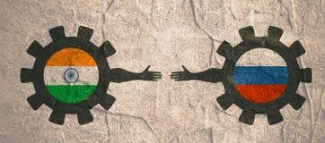 Bandeira da Web, molde da disposição do encabeçamento Relacionamento político e econômico entre a Índia e a Rússia Fotografia de Stock
