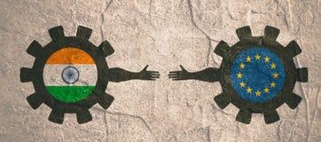 Bandeira da Web, molde da disposição do encabeçamento Relacionamento político e econômico entre a Índia e a União Europeia Imagem de Stock Royalty Free