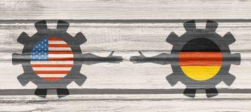 Bandeira da Web, molde da disposição do encabeçamento Relacionamento político e econômico entre EUA e Alemanha Imagem de Stock