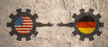 Bandeira da Web, molde da disposição do encabeçamento Relacionamento político e econômico entre EUA e Alemanha Fotografia de Stock