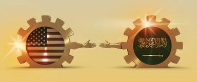 Bandeira da Web, molde da disposição do encabeçamento Relacionamento político e econômico entre EUA e Arábia Saudita Foto de Stock