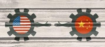Bandeira da Web, molde da disposição do encabeçamento Relacionamento político e econômico entre EUA e China Fotografia de Stock