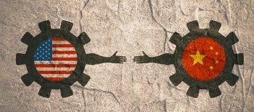 Bandeira da Web, molde da disposição do encabeçamento Relacionamento político e econômico entre EUA e China Foto de Stock Royalty Free