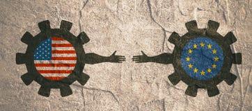 Bandeira da Web, molde da disposição do encabeçamento Relacionamento político e econômico entre EUA e Europa Fotos de Stock